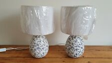 Pair of Small Table / Bedside Ceramic Lamp Bases With Matching new Shades