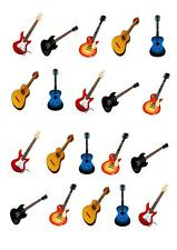 20 Guitar Music STAND UP Cupcake Fairy Toppers Edible Rice Paper Decorations