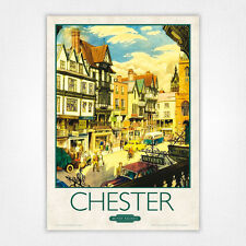 Poster Vintage Ferrocarril de cartel viaje-A4-Chester puente Street
