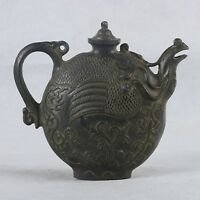 Chinese Bronze Handwork Carved Phoenix & Cover Teapot
