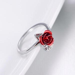 Red Rose Flower Leaves Opening Ring For Women Rhinestone Flowers Adjustable