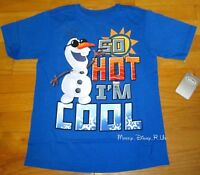 """7//8 Disney Store Frozen Olaf T-Shirt /""""I/'M ALL OUT OF SHAPE/"""" BLUE Unisex 5//6"""