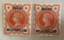 Pair of 2x SG197 QV Halfpenny Jubilee Stamps with British Bechuanaland Overprint