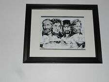 "Framed Willie Nelson Johnny Cash Waylon Highwaymen Drawing print 14"" by 17"""