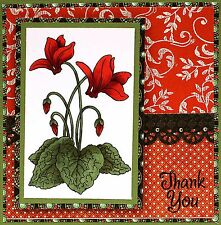 Cyclamen Flowers Wood Mounted Rubber Stamp STAMPENDOUS P294 New