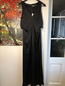 Camilla And Marc Size 8 Grazia Black Satin Wide Leg Jumpsuit NWT RRP $699