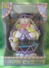"""Cwc Collectible Glass Body Easter Bunny Figurine Eggs Basket Chick Hat 8"""" 03:Jj7"""