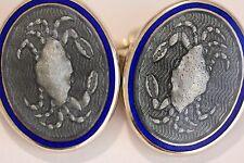 Tiffany & Co. vintage silver and enamel cufflinks