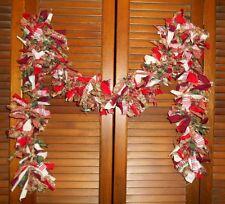 CHRISTMAS RAG GARLAND, 6 feet, Red & Green, Homespun, Country, Shabby