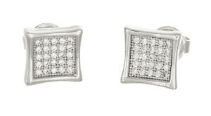 Sterling Silver White CZ Stone Square Shape Stud Earrings