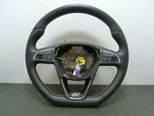 SEAT IBIZA LEON CUPRA SPORT FLAT BOTTOM STEERING WHEEL IN BLACK LEATHER 13-17