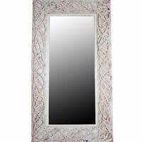 Aesthetic Mirror With Rattan Frame, White