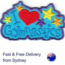 I love gymnastics Iron on patch  - gymnastic gym applique with stars embroidery