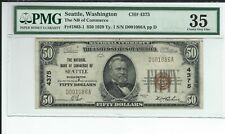 "1929 $50 NBN CHARTER #4375  ""THE NATIONAL BANK OF COMMERCE SEATTLE WASHINGTON"""