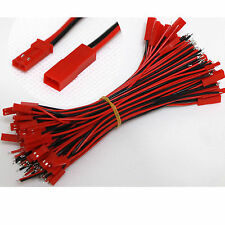 20x JST Plug and Socket connectors Pre-Wired 150mm leads 2pin Red and Black Wire