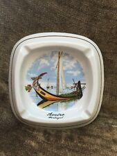 """Vintage Hand Painted Ash Tray from Aveiro Portugal 8.5"""" Armindo E Gaspar On Back"""