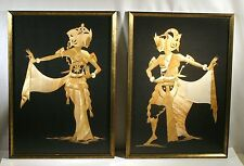VTG PAIR BALINESE DANCERS MAN & WOMAN STRAW RELIEF ART FRAMED PICTURE BALI