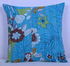"16"" INDIAN CUSHION COVER EMBROIEDERY KANTHA PILLOW THROW Vintage Ethnic Decor"