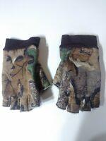 Vintage Gates Insulated Fleece Camo Half Finger Hunting Gloves Mens Large