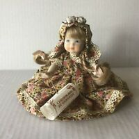 "Vtg. Italian Porcelain Girl Doll Jointed Hand Painted 7"" Tall with COA Label"
