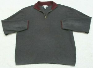 Gray Polo Sweater Long Sleeve Solid Large Geoffrey Beene Acrylic Cotton Mens Man