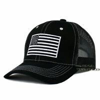 USA AMERICAN Flag Hat Tactical Operator Mesh Snapback Baseball Cap- Black/White