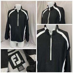 FootJoy DryJoys Golf Pullover M Men Black White 1/4 Zip Nylon YGI Q1-126