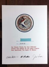 APOLLO 15 CERTIFICATE OF APPRECIATION PRESENTED TO MALE EMPLOYEE WITH DATE PRINT