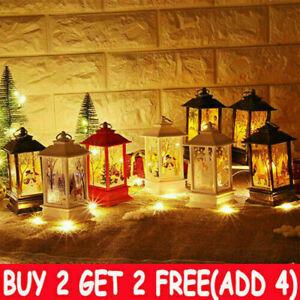 Christmas LED Light Up Lantern Xmas Santa Claus Table Lamps Ornament Decor NEW