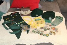 Huge Lot of Vintage Girl Scout Badges Pins Clothing Purse I D cards Beanies