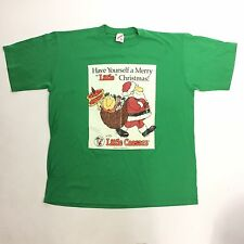 LITTLE CAESARS Vtg Green T-shirt 1993 50/50 Cotton Blend Jerzees Made in USA