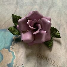 Vintage Pretty 1960's Painted Enamel Lilac Purple Metal Flower Brooch Pin