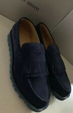 8f81f06a36cf New  895 Giorgio Armani Mens Suede Loafers Shoes Navy Blue 8 US 7 UK X2A313