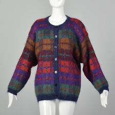 L Plaid Sweater 1990s Cardigan Jacket Red Purple Green Medium Weight 90s Vtg