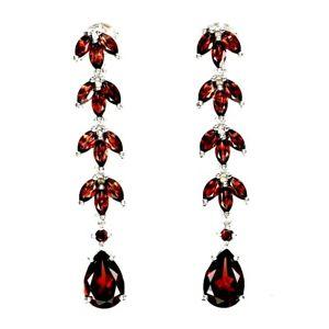 Earrings Red Garnet Genuine Natural Gems Dangle Design Solid Sterling Silver