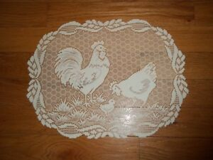 LACE PLACEMAT IVORY ROOSTER OBLONG 19 X 14 CTDR33