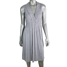 J Crew Womens Empire Waist Dress M Pullover Sleeveless V-Neck Fit & Flare Gray