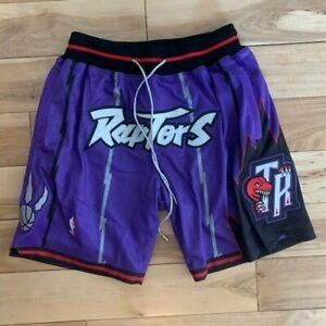 JUST DON MITCHELL & NESS TORONTO RAPTORS BASKETBALL SHORTS PURPLE Sz: Large