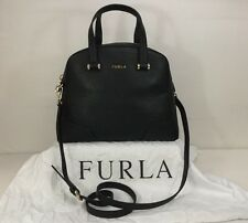 Furla Michelle Black Pebbled Leather Double Handled W/Det Shoulder Dome Satchel