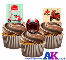 Vintage Vespa Scooter Mods Mix 12 Edible Stand Up Cup Cake toppers Decorations