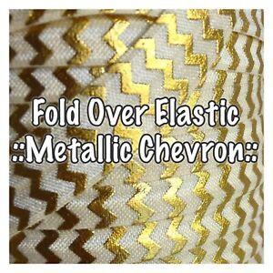 2 Metres - Fold Over Elastic - Metallic Chevron