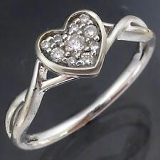 Romantic 10 DIAMOND set LOVE HEART 9k Solid White GOLD CLUSTER RING Mid SZ N1/2