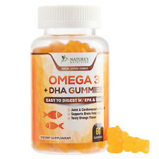 Omega 3 Fish Oil Gummies Extra Strength DHA & EPA Supports Brain, Joint Function