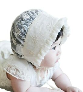 Styles I Love Infant Baby Girls Spring Summer Floral Lace Cotton Bonnet Sun Hat