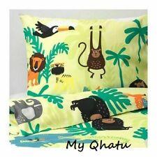 Ikea DJUNGELSKOG Full/Queen Duvet cover and 2 pillowcases animal green NEW