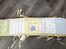 """POTTERY BARN KIDS """"GOOD NIGHT"""" BUMPER PAD, EMBROIDERED, YELLOW, GREEN"""