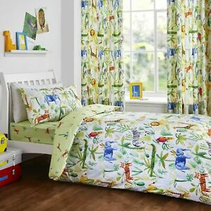 Bedlam Kids Jungle Animals Duvet Cover Set, Fitted Sheet OR Lined Curtains