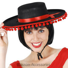 A794 Mexican Sombrero Felt Hat Party Fancy Dress Fiesta Costume Spanish Red Poms
