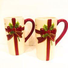 St Nickolas Square Holly Jolly Set 2 Lot 16 Oz Coffee Tea Mugs Holiday Christmas