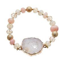 Stretch Bracelet with pink agate beads and lilac druzy quartz stone - Jae P